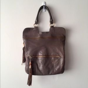 SORIAL Brown Leather Purse with Tassels
